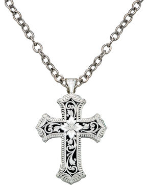 Montana Silversmiths Antiqued Scalloped Cross Necklace, Silver, hi-res