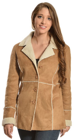 Red Ranch Faux Suede and Sherpa Long Jacket, Brown, hi-res