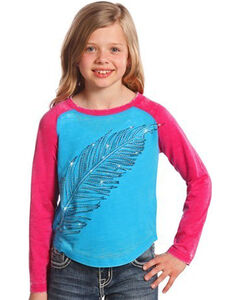 Rock & Roll Cowgirl Girls' Long Sleeve Feather Graphic T-Shirt , Turquoise, hi-res