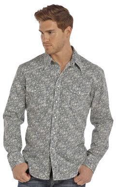 Rock & Roll Cowboy Men's Navy Crinkle Poplin Paisley Print Shirt , Green, hi-res