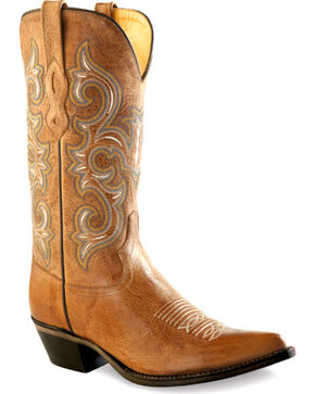 Old West Women's Tan Western Boots - Pointed Toe  , Tan, hi-res