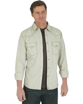 Wrangler 20X Men's Khaki Dobby Long Sleeve Snap Shirt, Khaki, hi-res