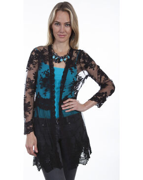 Scully Women's Black Lace Cardigan, Black, hi-res