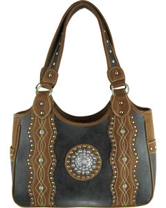 Savana Black Silver Concho Conceal Carry Handbag , , hi-res
