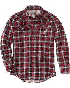 Carhartt Men's Crimson Flame Resistant Snap-Front Plaid Shirt - Tall, , hi-res