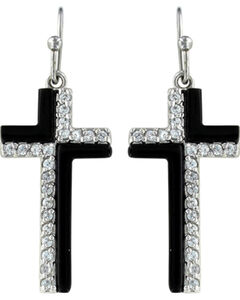 Montana Silversmiths Women's Black and White Cross Earrings , , hi-res