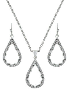 Montana Silversmiths Laced Teardrop Jewelry Set , , hi-res