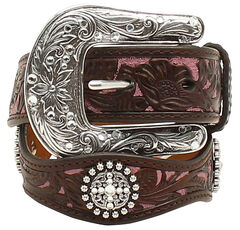 Ariat Girls Scalloped Hand Tooled & Embellished Belt, , hi-res