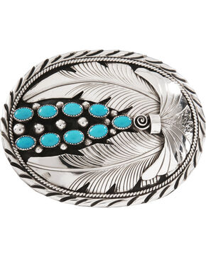 Kingman Turquoise Stone Belt Buckle, Silver, hi-res