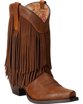 Ariat Gold Rush Fringe Cowgirl Boots - Snip Toe, Brown, hi-res