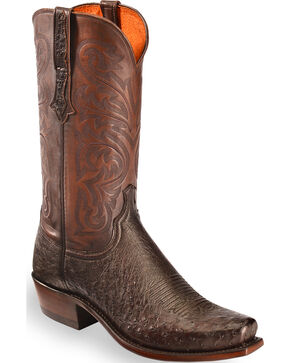 Lucchese Men's Dark Brown Nathan Smooth Ostrich Boots - Narrow Square Toe , Dark Brown, hi-res