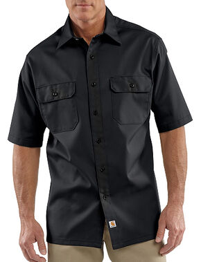 Carhartt Twill Work Short Sleeve Work Shirt - Big & Tall, Black, hi-res
