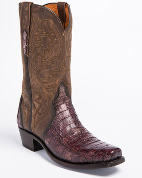 Lucchese Maple Dwight Caiman Cowboy Boots - Square Toe  , Light Brown, hi-res