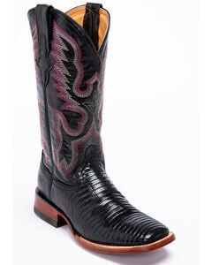 Ferrini Black Lizard Cowgirl Boots- Wide Square Toe, , hi-res