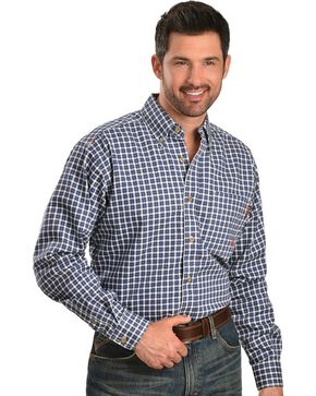 Ariat Flame Resistant Blue & White Checkered Work Shirt, Blue, hi-res