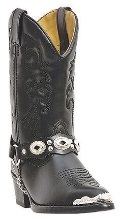Laredo Youth Boys' Little Concho Cowboy Boots - Round Toe, Black, hi-res