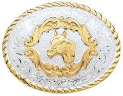 Montana Silversmiths Small Horsehead Western Belt Buckle, , hi-res
