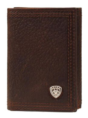 Ariat Logo Concho Tri-fold Wallet, Brown, hi-res