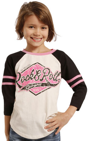 Rock & Roll Cowgirl Girls' Varsity Baseball Tee, Black, hi-res