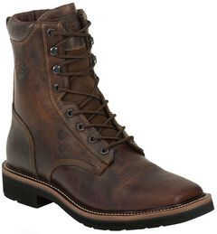 "Justin Stampede 8"" Lace-Up Stampede Work Boots - Square Toe, , hi-res"