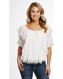 Cowgirl Up Women's Flowy Lace Blouse , , hi-res
