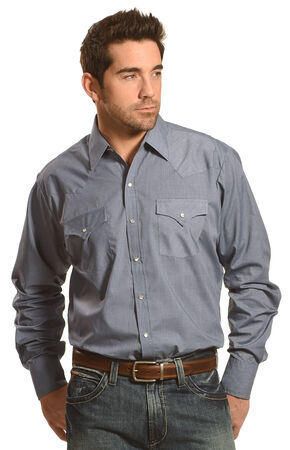 Ely Cattleman Men's Button Up Long Sleeve Shirt, Blue, hi-res