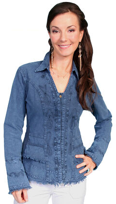 Scully Peruvian Cotton Frayed Edges Top, , hi-res