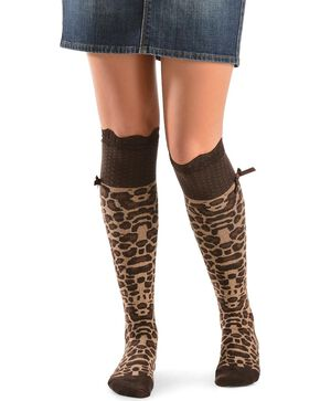 Blazin Roxx Leopard Print with Lace Knee-High Socks, Black, hi-res