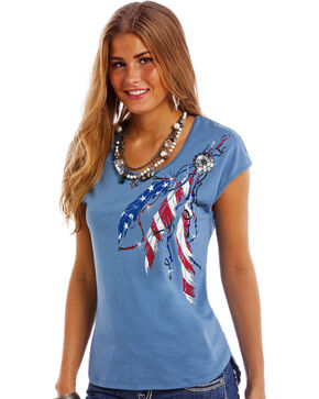 Panhandle Slim Women's Blue Americana Cap Sleeve T-Shirt , Blue, hi-res