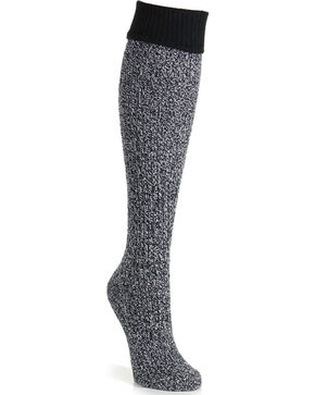K-Bell Women's Soft & Dreamy Cuff Ribbed Knee High Socks, Black, hi-res