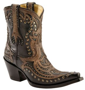 Corral Distressed Brown Overlay Studded Short Boots - Snip Toe, Black, hi-res