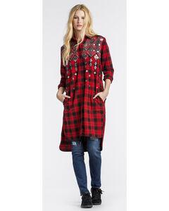 MM Vintage Women's Hi Lo Embellished Plaid Dress, , hi-res
