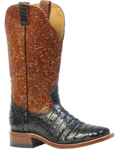 Boulet 3-Piece Black Caiman Floral Cowboy Boots - Square Toe, , hi-res