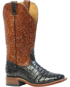 Boulet 3-Piece Black Caiman Floral Cowboy Boots - Square Toe, Black, hi-res