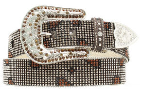 Nocona Rhinestone Mesh Leopard Design Belt, Brown, hi-res
