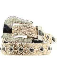 Nocona Women's Metallic Croc Embellished Belt, , hi-res