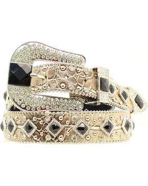 Nocona Women's Metallic Croc Embellished Belt, Gold, hi-res