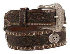 Nocona Tooled and Studded Concho Belt, , hi-res