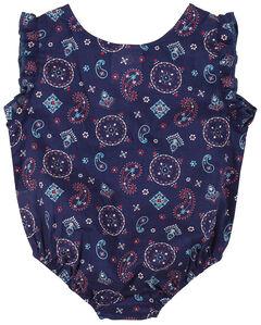 Wrangler Infant Girls' Navy Snap Print Bodysuit, , hi-res