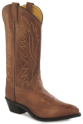 Old West Men's Brown Polanil Western Cowboy Boots - Medium Toe, Tan, hi-res