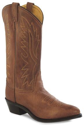 Old West Men's Brown Polanil Western Cowboy Boots - Medium Toe, Tan, hi-res