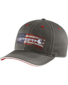 Carhartt Men's Charcoal Grey Distressed Flag Graphic Cap, , hi-res
