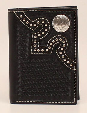 Nocona Embossed Concho Trifold Wallet, Black, hi-res