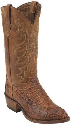 Tony Lama Cognac Vintage Exotics Hornback Caiman Cowboy Boots - Round Toe , , hi-res