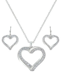 Montana Silversmiths Bright Hearts Entwined Jewelry Set , Silver, hi-res
