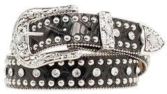 Nocona Rhinestone Studded Croc Print Leather Belt, , hi-res