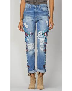 Miss Me Women's Indigo Embroidered Boyfrind Jeans - Ankle Cuff, , hi-res