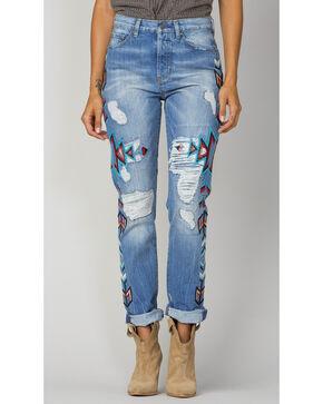 Miss Me Women's Indigo Embroidered Boyfrind Jeans - Ankle Cuff, Indigo, hi-res