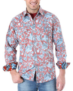 Wrangler 20X Men's Distressed Floral Print Long Sleeve Shirt, Red, hi-res