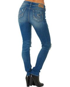 Silver Women's Suki Rip Torn Mid Skinny Jeans , , hi-res